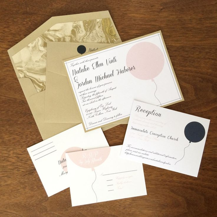 wedding invitation printing malaysia%0A String Balloon Wedding Invitations by Elana Klein  Printed on white stock  with navy and pink