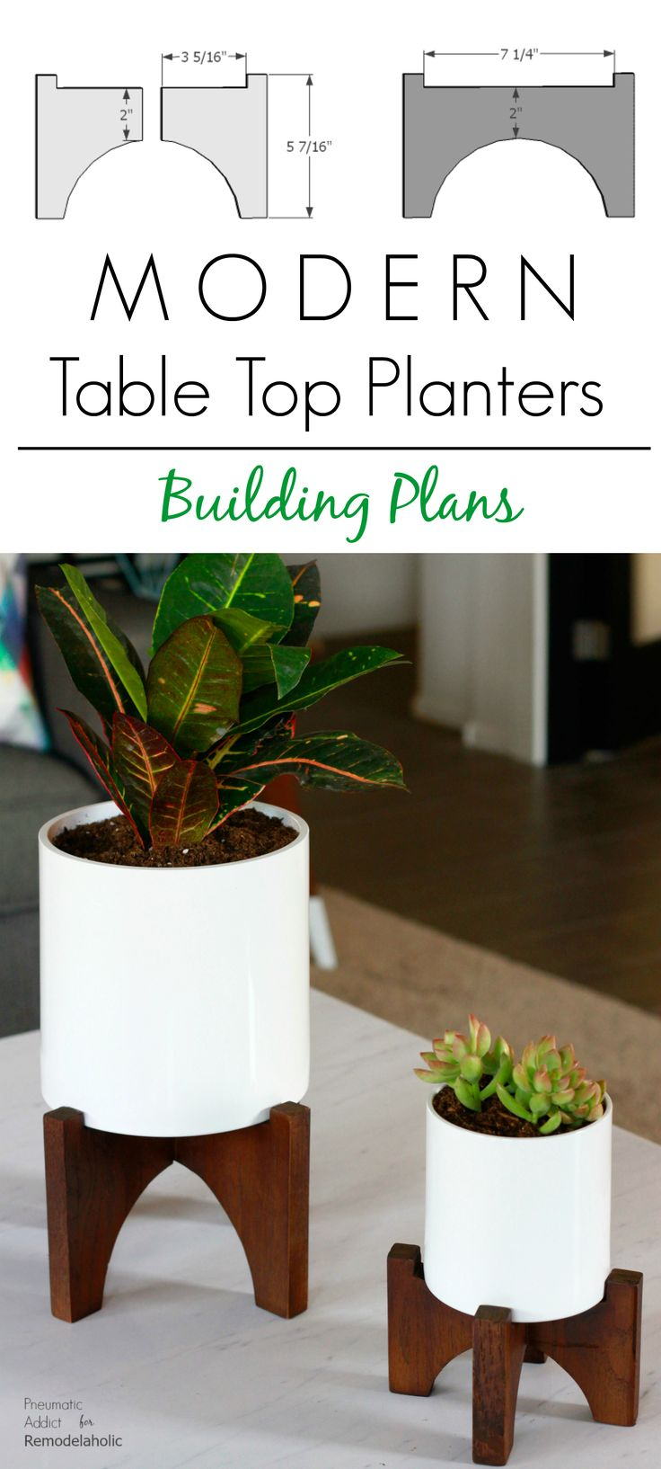 Modern Table Top Planters Building Plans | Elevate your house plants with these modern wood tabletop planters that you can make in a few hours! Get the full tutorial and building template from Pneumatic Addict on Remodelaholic.com