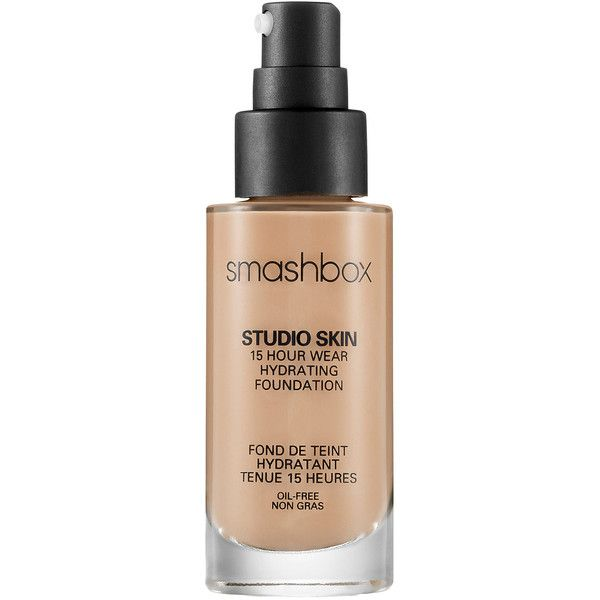 Smashbox Studio Skin 15 Hour Wear Foundation ($42) ❤ liked on Polyvore featuring beauty products, makeup, face makeup, foundation, smashbox foundation, smashbox, long wearing foundation, paraben free foundation et long wear foundation