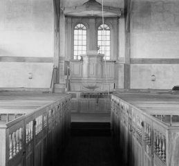 Puritan church with pulpit, pews, and, significantly, no altar. Old Ship Meeting House, Hingham, Mass., built in 1681.