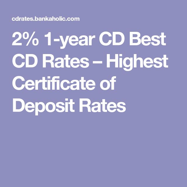 2% 1-year CD Best CD Rates – Highest Certificate of Deposit Rates
