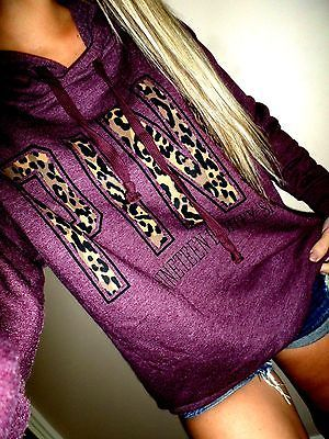 Victoria Secret PINK Oversized Fit Leopard Print Graphics Maroon Hoodie And Shorts