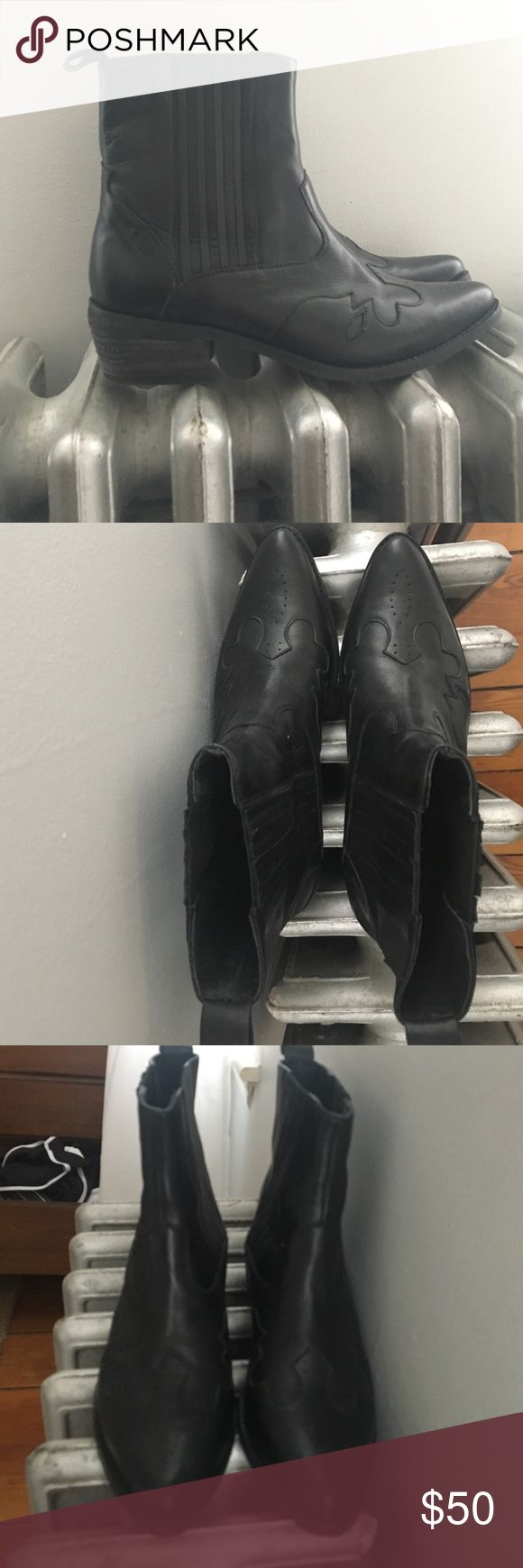 Black leather ankle boots Urban Outfitters black leather western ankle boots worn once! Excellent condition. Size 8 Urban Outfitters Shoes Ankle Boots & Booties