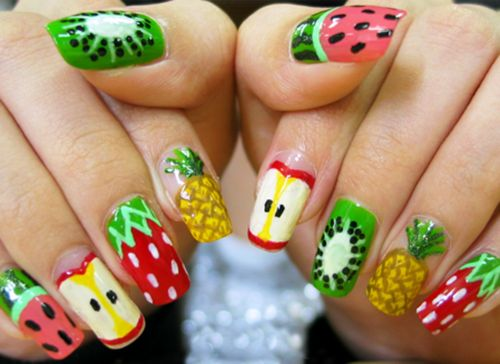 Fruit nails... Want to do the kiwi nails!!!