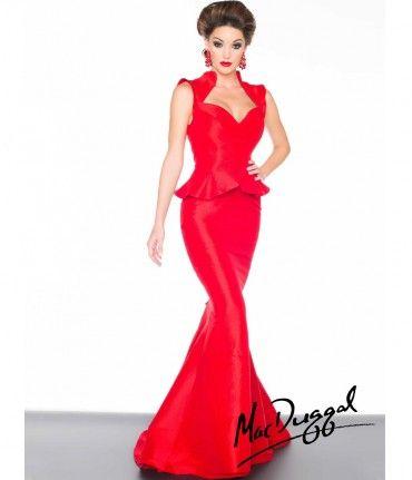 Mac Duggal 2014 Prom Dresses - Red Taffeta Peplum Prom Dress