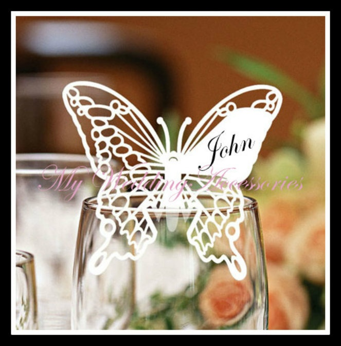 $2.50 each on eaby. 1 Sample Butterfly Name Place Glass Table Card Wedding Laser Cut White or Ivory | eBay