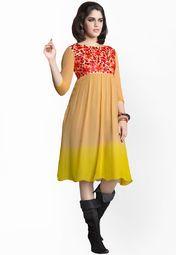 Beige Embroidered Dresses