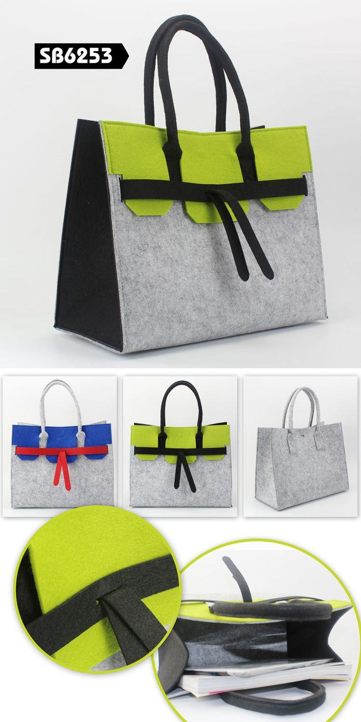 Eco-friendly felt handbag  Product Measurements: 35*18*28CM  With different available color for choice Custom design is acceptable LOGO fit for: print, embroidery, laser cut, laser scanning, emboss www.ideagrupigm.com