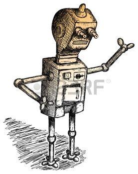 robot humano: Dibujado a mano el tema de robot, trabajador o de la policía Vectores
