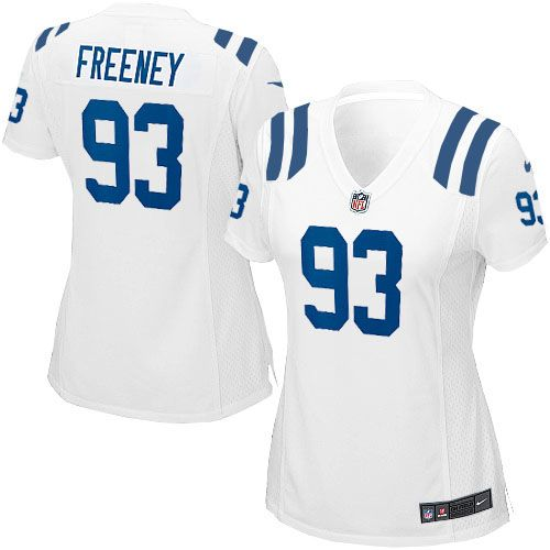 Dwight Freeney Jersey Indianapolis Colts #93 Women Limited Jersey White Nike NFL Jersey Sale