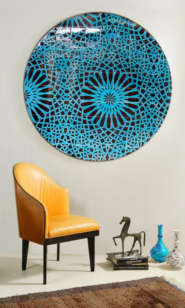 Iznik NL tile mural Blue and Green design