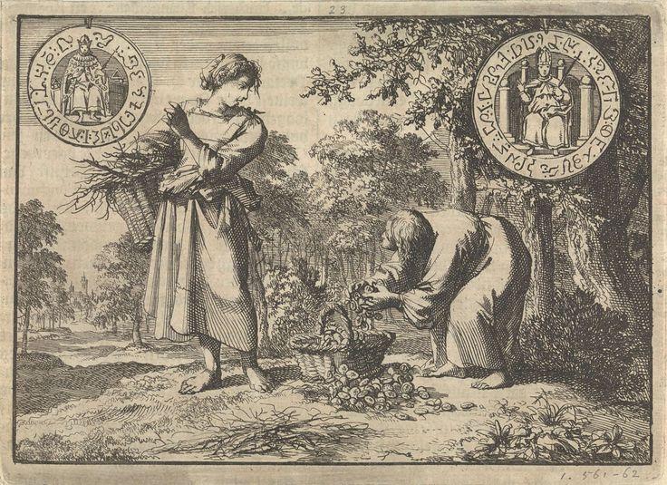 Jan Luyken | Wonderlijke verschijning van een oud mannetje aan een arm boerenmeisje, terwijl hij haar mand vult met zilveren munten, 1605, Jan Luyken, Pieter van der Aa (I), 1698 |