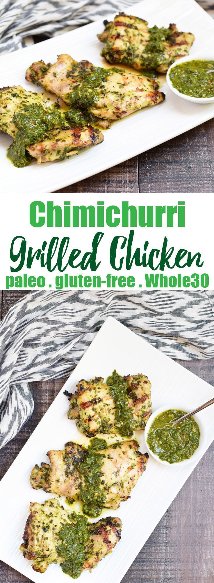 Chimichurri Grilled Chicken from Living Loving Paleo | A super simple yet incredibly flavorful dish - trust me, you'll want to make a double batch of the sauce to put on everything! | An exclusive Invincible Inspiration members recipe