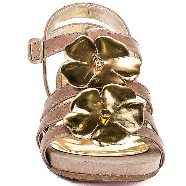 Sandalias niña con flores metalizadas Unisa Europa
