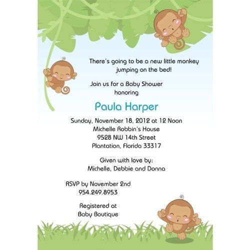 "Monkeying Around Baby Shower Invitations - Set of 20 by Storkie Express. $35.80. Baby Shower Invitations: ""Monkeying Around"" features three adorable monkeys in different cute poses - hopping with joy and hanging from vines. Behind the happy monkeys are"