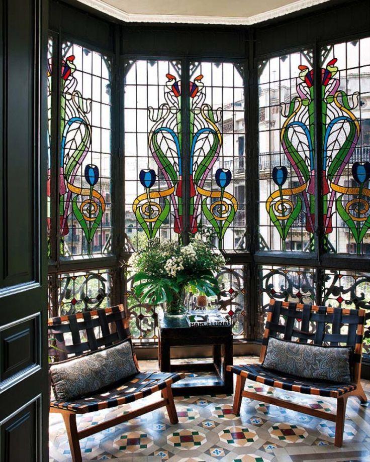 Art Nouveau stain glass windows with light