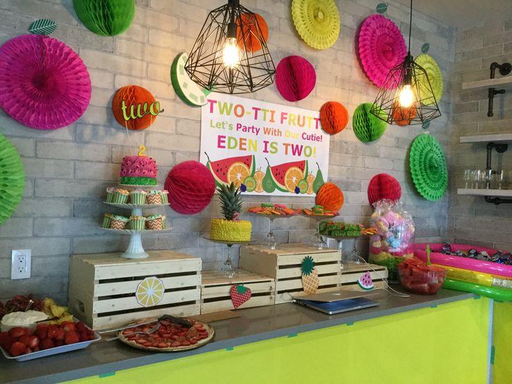 Tutti frutti, two-tti frutti, tutti fruity, two-tti fruity tablescape backdrop