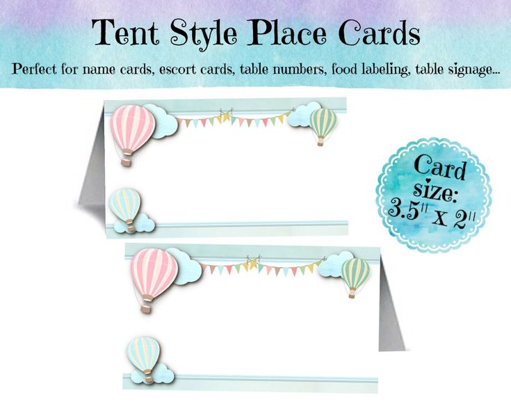 12  Tent Style Place Cards, Name Cards, Buffet Food Cards, Table Signs, Pastel Hot Air Balloons, Bridal, Baby Shower, Birthday, Wedding by NecessiTees on Etsy https://www.etsy.com/listing/230338761/12-tent-style-place-cards-name-cards
