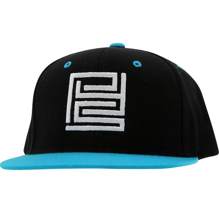 PYS.Block.Logo.Snapback.Caps.-.White.(black./.teal)