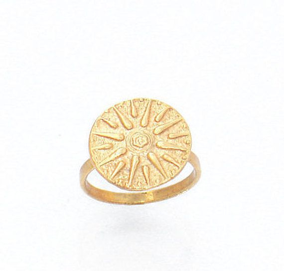 Verginas Sun Ring - Greek Star Ring - Greek Macedonian Jewelry - Solar Symbol Ring - Ancient Greek Ring - All Sizes Ring - Gold Sun Ring