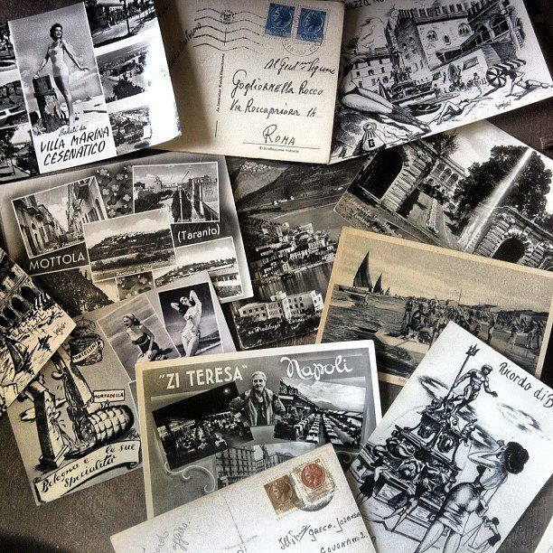 vintage italian postcards for our mad pizza interior..
