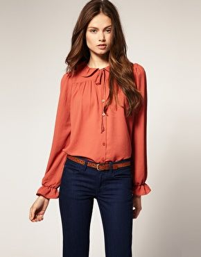 ASOS Ruffle Collar Blouse • coral • fashion