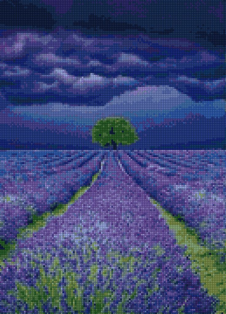 Lavender Field Approaching Storm Cross Stitch pattern PDF - EASY chart with one color per sheet AND traditional chart! Two charts in one! by HeritageChart on Etsy