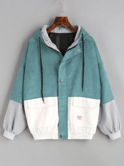 1c762db86cc Hooded Color Block Corduroy Jacket