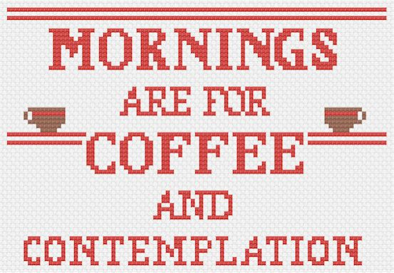 This quote makes a wonderful reminder of whats important in starting your day: coffee and contemplation. The pattern makes a 5x7 sampler. This digital download PDF shows the pattern in colored symbols, with a handy legend. The pattern uses DMC thread colors and has a stitch count grid and number markers on both axises.