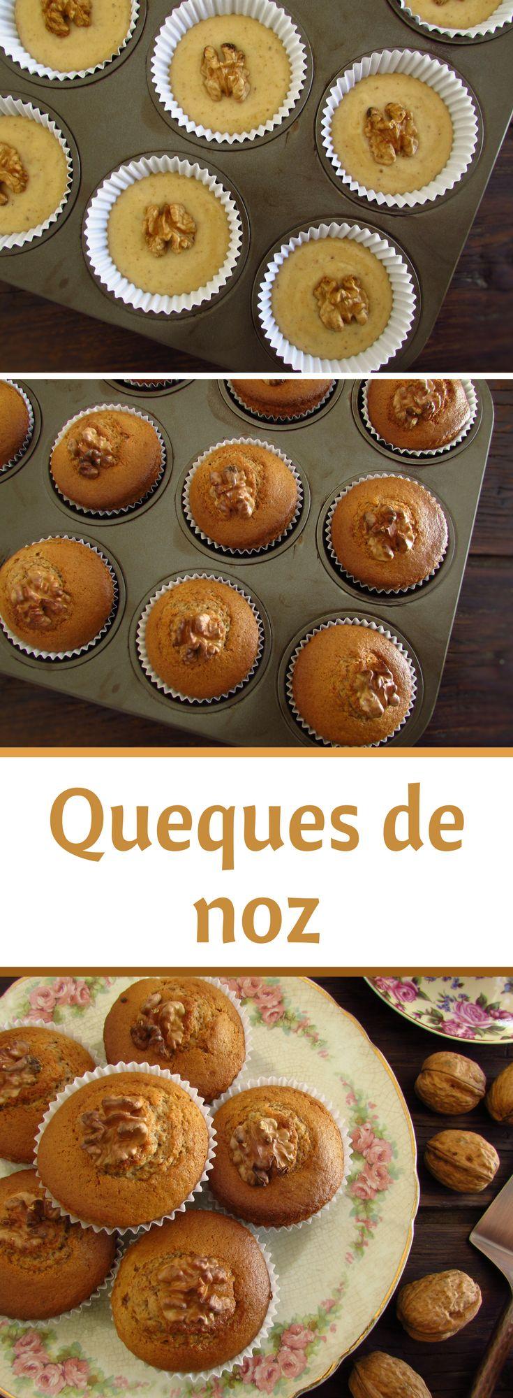 Queques de noz   Food From Portugal. Se gosta de frutos secos temos uma excelente receita para lhe apresentar, queques de noz! São bastante saborosos e têm uma apresentação fantástica! Numa festa entre amigos estes queques de noz vão fazer sucesso!! Atreva-se! #bolos #queques #receita #noz