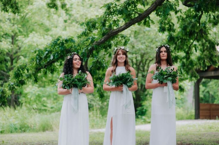 Bridesmaids with just greens!!!! A great way to give your girls something to hold while keeping costs low!!!    #weddings #wedding #bridesmaids #greens #organic #white #canada #ontario #floralart #weddingflowers #flowers #bouquet #bohowedding #barnwedding #rustic
