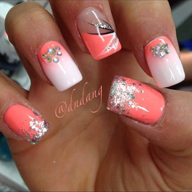 Coral Color Nail Designs: Best 25+ Coral Nails Glitter Ideas On Pinterest