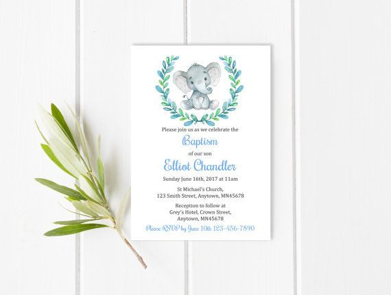 Blue Elephant Baptism Invite, Printable Elephant Baptism Invitation, Boy Blue Christening Invitation, Naming Day Invite Download 305-B