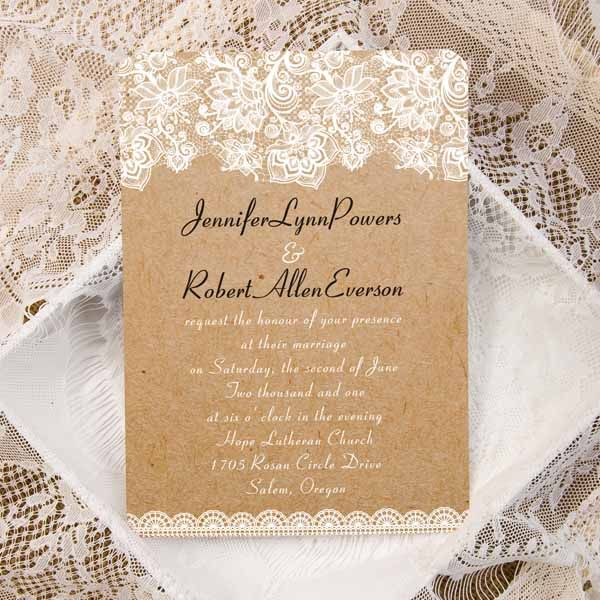 Cheap Vintage Floral Lace Ticket Shape Wedding Invitations
