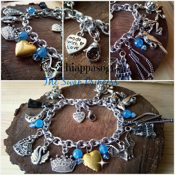 The Swan Princess inspired Bracelet  Multicharm by LAcchiappasogni