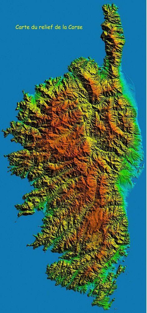Corse-carte-de-la-Corse-en-relief-Ajaccio-Bastia-Corte-Calvi-Bonifacio-Porto-Vecchio-Corse-mer-Méditerranée-France-Europe