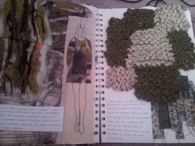 Fashion Sketchbook - knitwear explorations - fashion design sketching; knit & stitch samples; the fashion designer's process // Alice Bailey