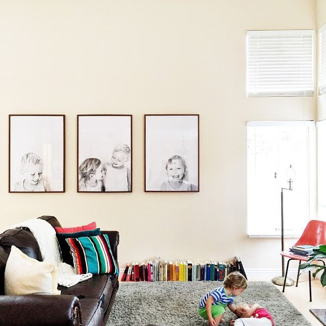I posted this picture of the boys playing in our living room on Instagram a few days ago, and I had smattering of questions about our engineer print portraits. I aim to please, so here is a little tut