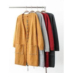 Only US$31.99 , shop Vintage Women Long Sleeve Solid Color Button Up Cardigan Shirt with Pockets at Banggood.com. Buy fashion Cardigans online.