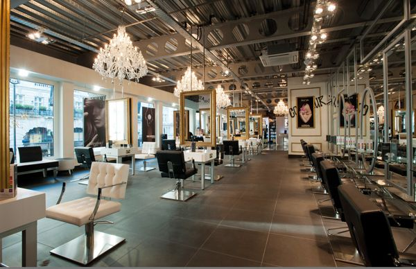 this is my ultimate fave. Concrete coloured floors amazing lights and hair stations which are practical but unique