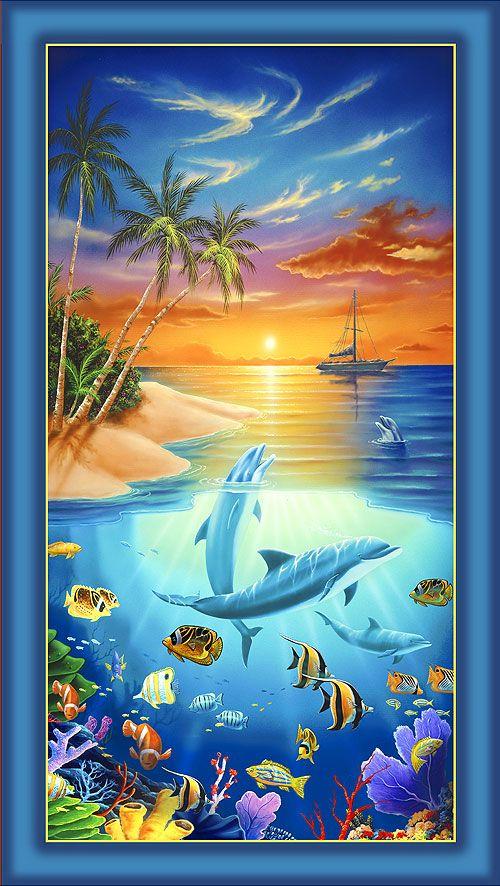 Dolphin Island Sunset Swim Quilt Fabrics From Www