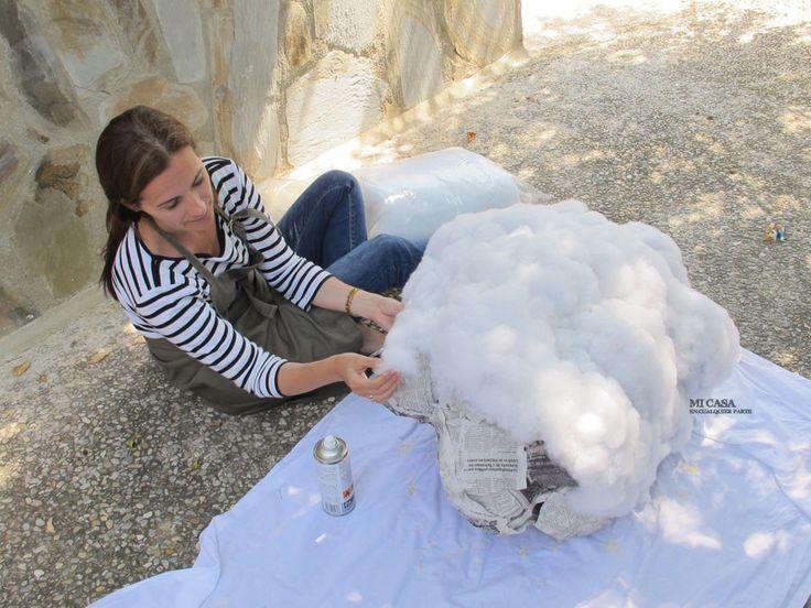 C mo hacer una nube con globos y relleno de almohadas y - Como hacer una nube ...