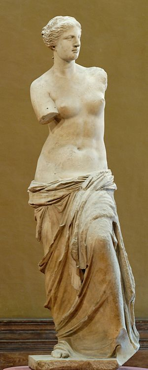 Aphrodite of Milos better known as the Venus de Milo Created sometime between 130 and 100 BCE, it is  depict Aphrodite, the Greek goddess of love and beauty (Venus to the Romans). on display at the  Louvre Paris