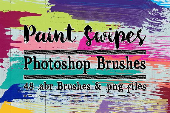 Paint Swipe Photoshop Brushes & Digital Stamps Clip art - 48 abr brushes and png files by ClikchicDesign #photoshop #graphic #design by Clikchic Designs