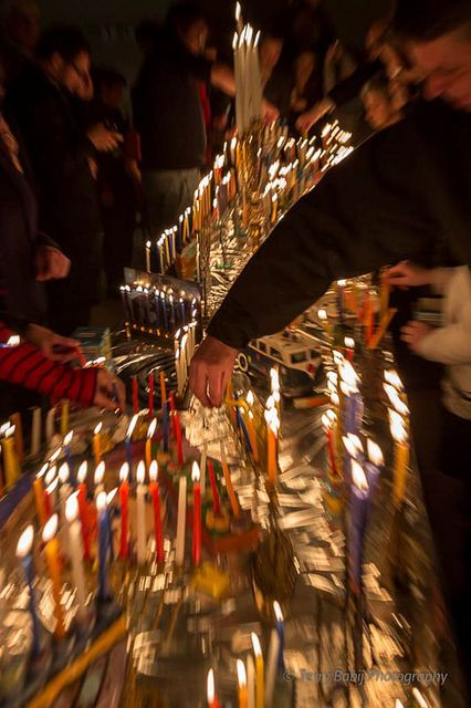 Some of the more than 100 Chanukah Menorahs kindled Wednesday Night at TAS in Hamilton, ON
