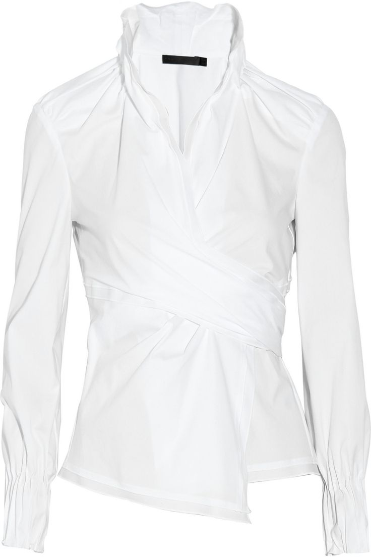 Donna Karan Stretch cotton-blend wrap shirt