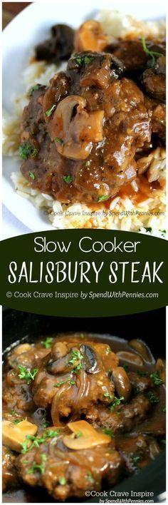 I love this recipe!! Slow Cooker Salisbury Steak! Perfectly tender beef patties…