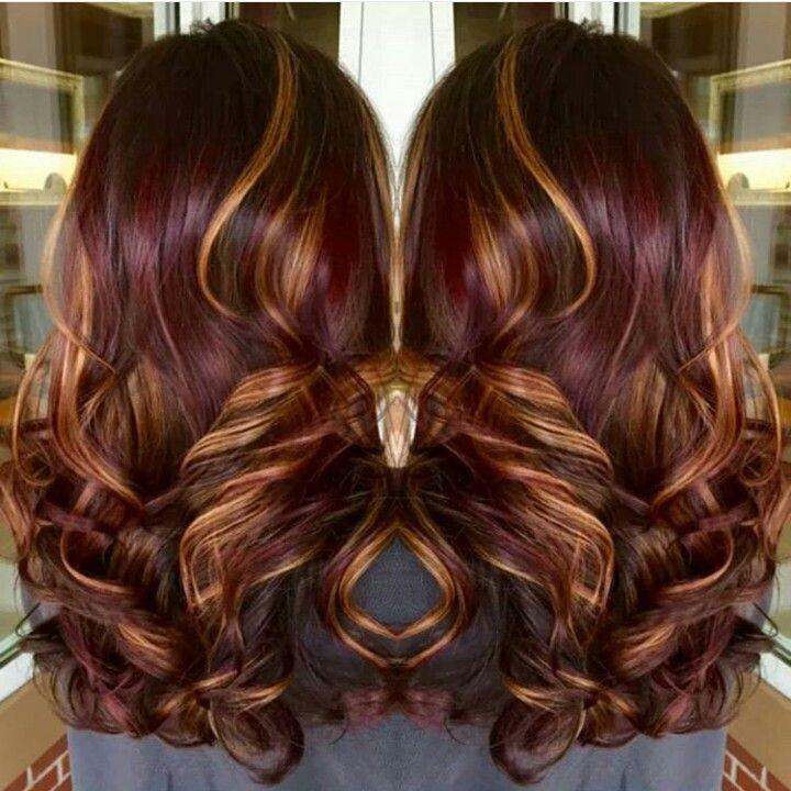 Really cute burgundy hair with caramel highlights