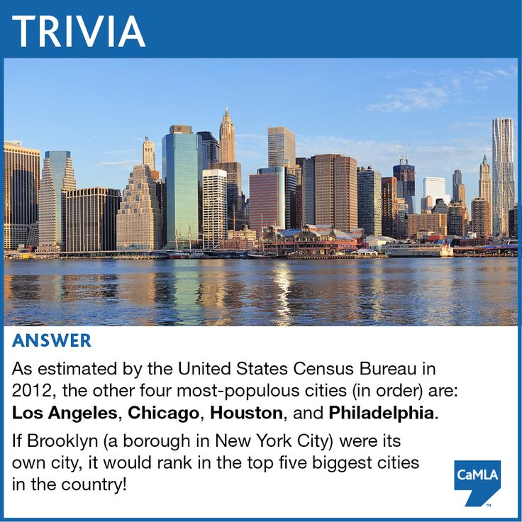 The trivia question was: New York City is the most populous city in the United States. Can you name any other cities that appear in the top five most populous cities in the U.S.? https://www.facebook.com/camlaglobal