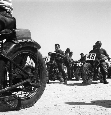 Photos from Daytona, 1948.  When motorcycle racing was on the beach, not a track.